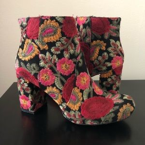 Embroidered Block Heel Booties - MIA
